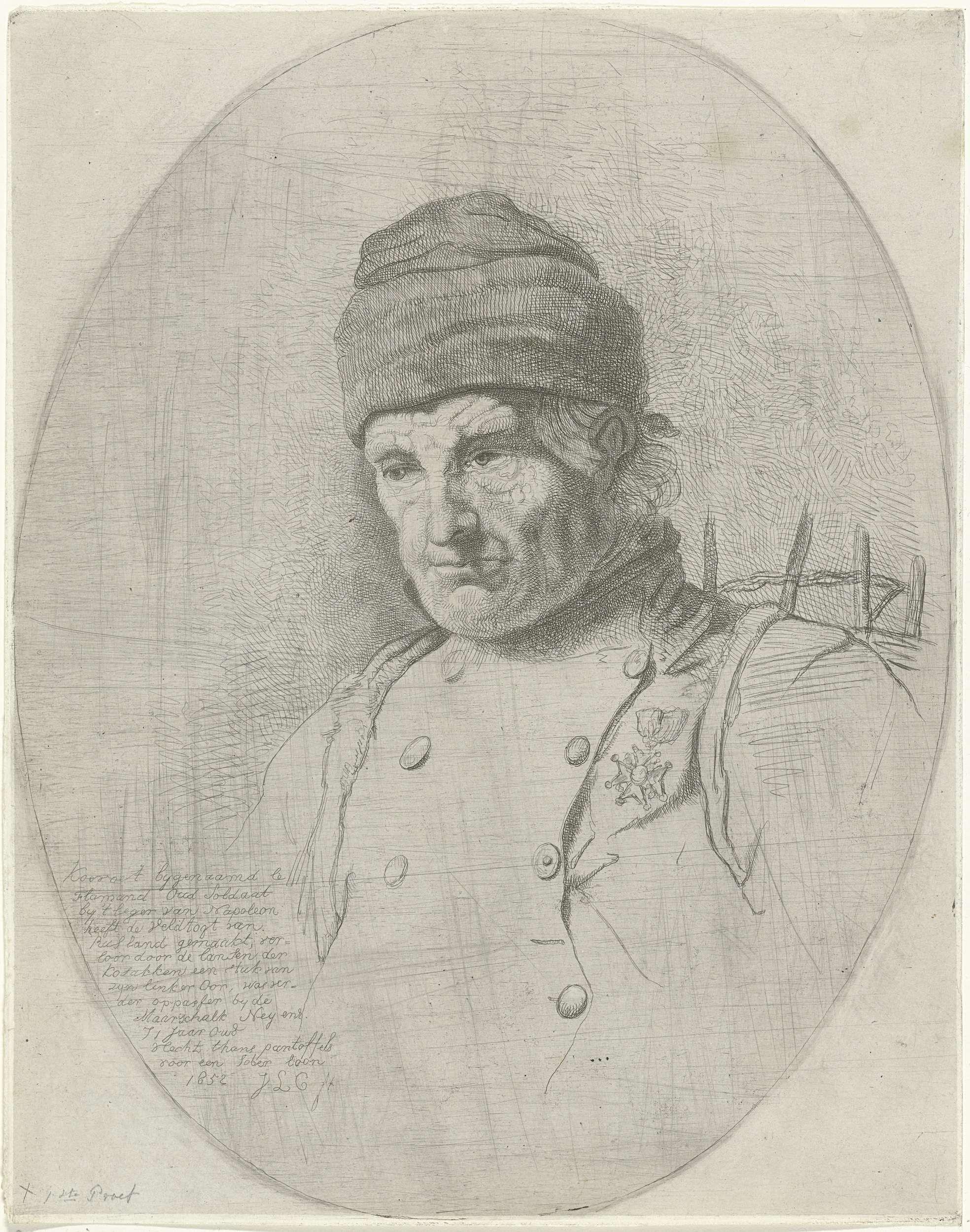 Jacobus Ludovicus Cornet   Portret van Koevoet Le Flamand, Jacobus Ludovicus Cornet, 1852   Portret in een ovale lijst van Koevoet Le Flamand, een soldaat op rust. Hij draagt zijn legeruniform met een medaille. Buste naar links. De man is een deel van zijn linkeroor kwijt. De prent heeft een Nederlands opschrift.