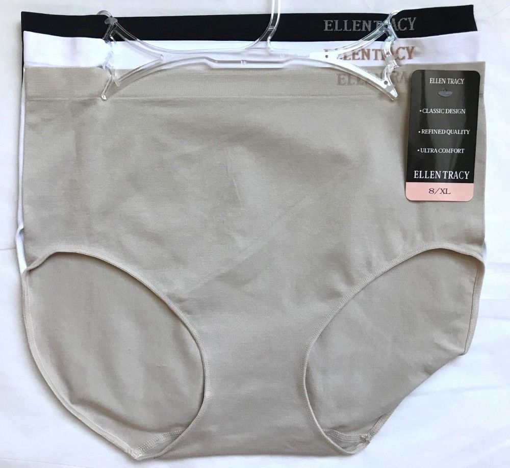 72107cbc6b9f ELLEN TRACY WOMEN'S 3 PAIR SEAMLESS BRIEF PANTIES SIZE 8 XL 51417 - NEW  #EllenTracy #BriefsHiCuts #Everyday
