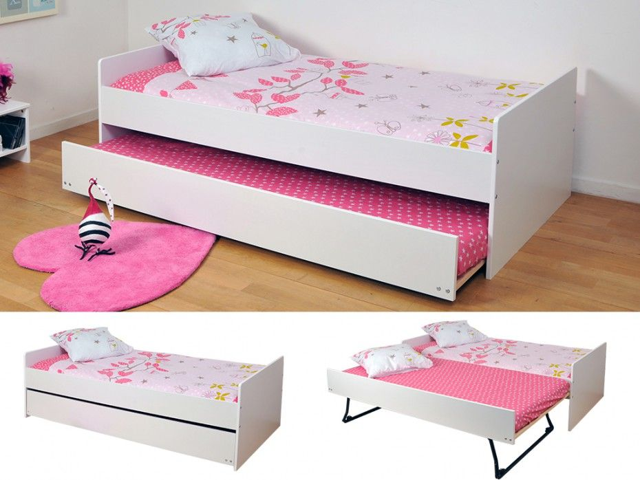 Kinderbett Mit Bettkasten Nolan Ausziehbar 90x190cm Weiss Ausziehbett Bett Ideen Kinderbett