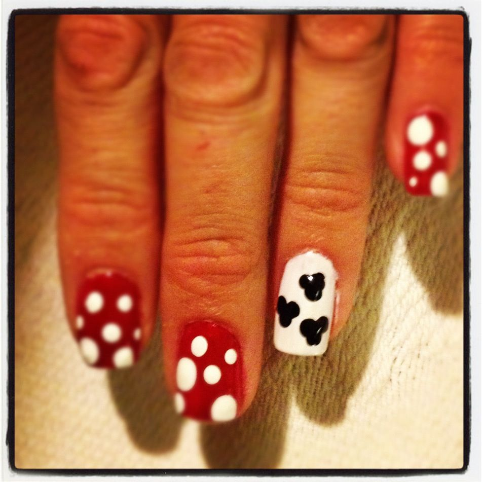 How Long To Let Nail Polish Dry Before Top Coat: Easy Disney Nails. Paint Nails Red, Paint One Nail White