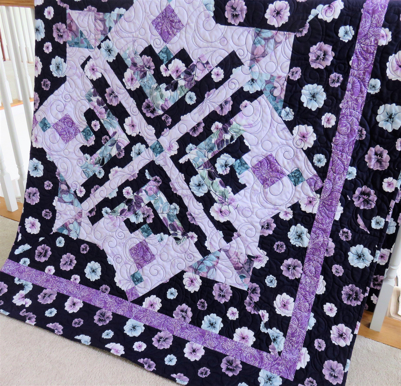 Handmade Queen Quilt For Sale Purple Quilt Queen Size Quilt Etsy Handmade Quilts For Sale Floral Quilt Throw Quilt