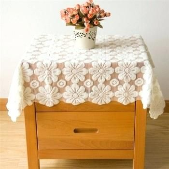 Bedside Table Cloths Elegant Vintage Square Lace Tablecloths Cover Polyester For Side Round Tablecloth