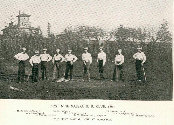 BASEBALL PRINCETON UNIVERSITY BASEBALL NINE OF 1897 CATCHER SHORT STOP PITCHER