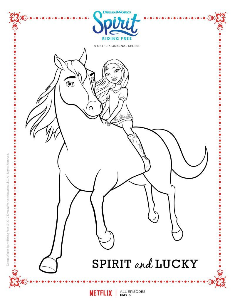 Spirit Riding Free Spirit And Lucky Coloring Page | Kids ...
