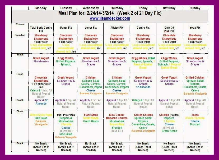 21 Day Fix Meal Plan for Week 2 Meal Planning and Preparation - meal plan