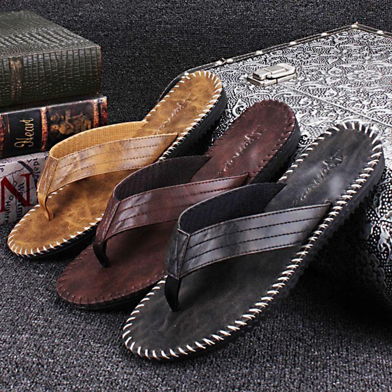 Tuoup Mens Leather Beach Flip Flops Indoor Outdoor Thong Sandals
