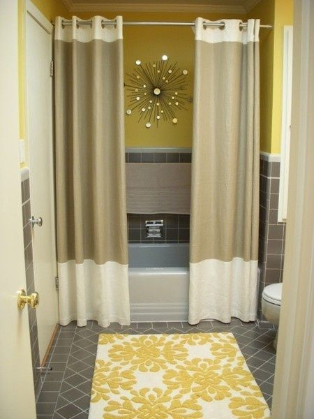 Split Shower Curtain With Wall Art And Floor Rug For Pop Of Color Cute Ideas To Add A Bathroom