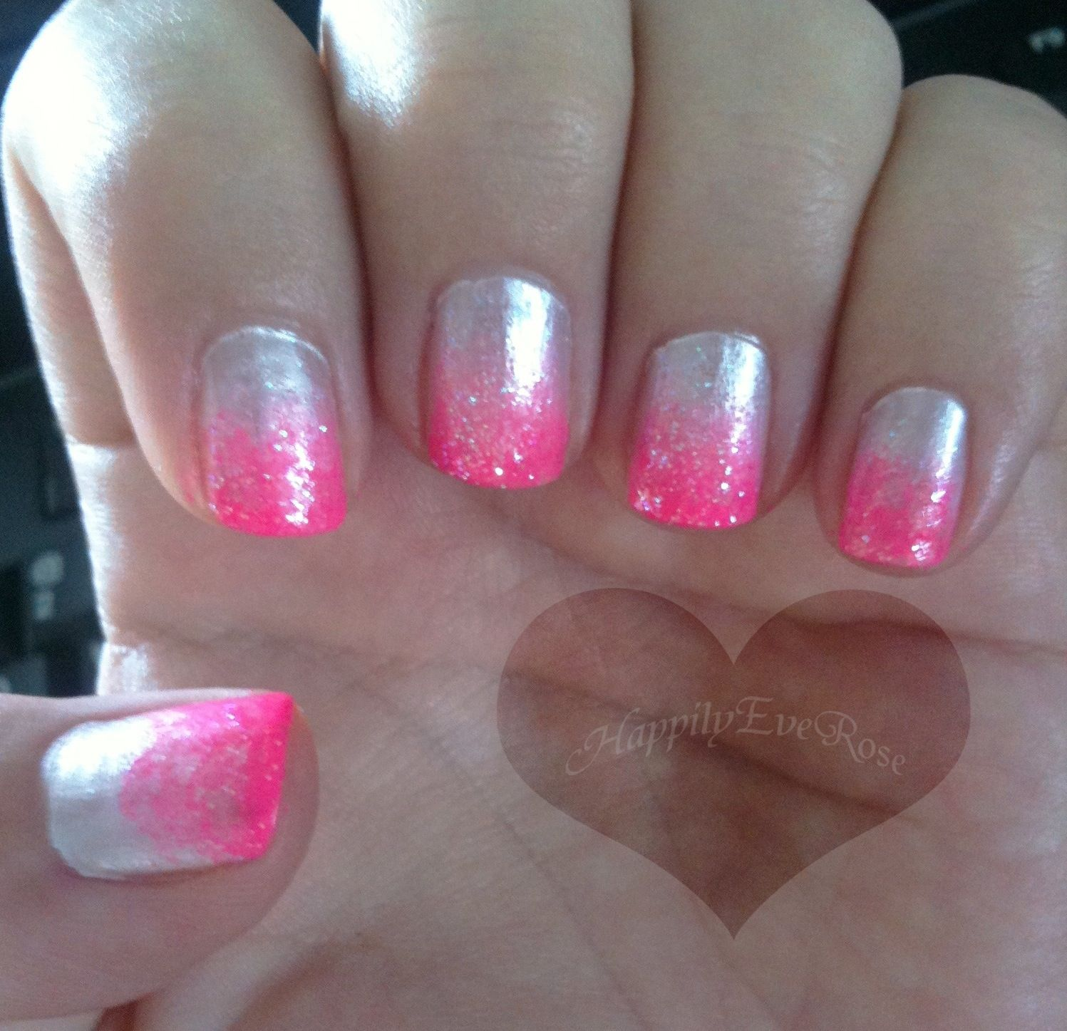 Silver and hot pink gradient tip nail design   Nails   Pinterest ...