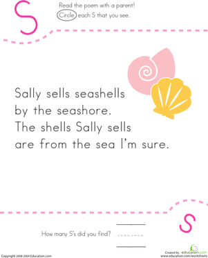 find the letter s sally sells seashells anchor charts preschool poems nursery rhymes. Black Bedroom Furniture Sets. Home Design Ideas