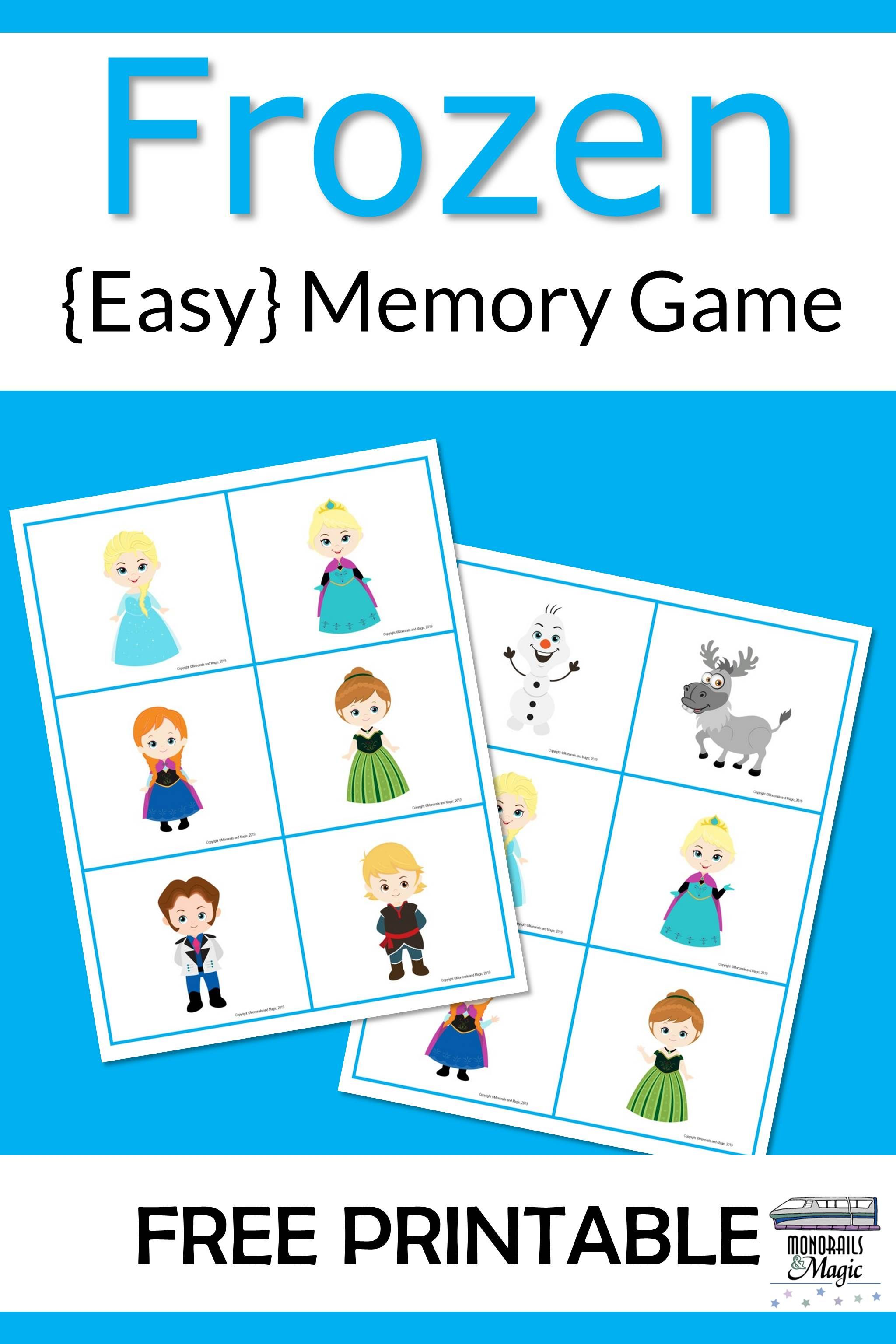 Frozen Memory Game Free Printable In