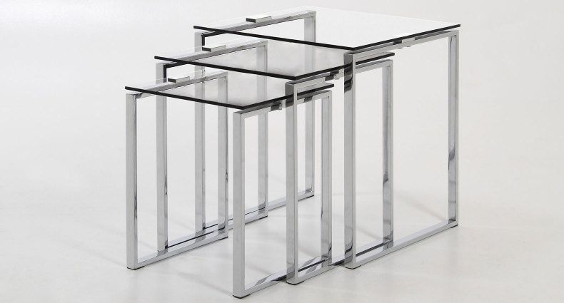 The Solero Clear Glass Nest Of Tables Is A Set Of Three Occasional Tables Of Different Sizes That Nest Inside Glass Nesting Tables Coffee Table Nesting Tables