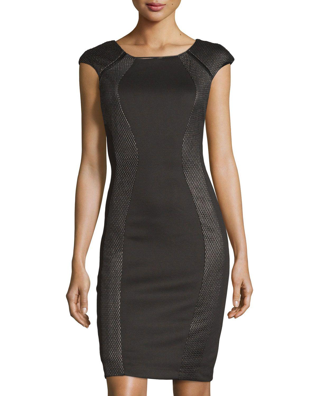 JAX Cap-Sleeve Scuba Sheath Dress, Black, Women's, Size: 14 - http://www.musteredlady.com/jax-cap-sleeve-scuba-sheath-dress-black-womens-size-14/  .. http://goo.gl/y3ATrZ |  MusteredLady.com