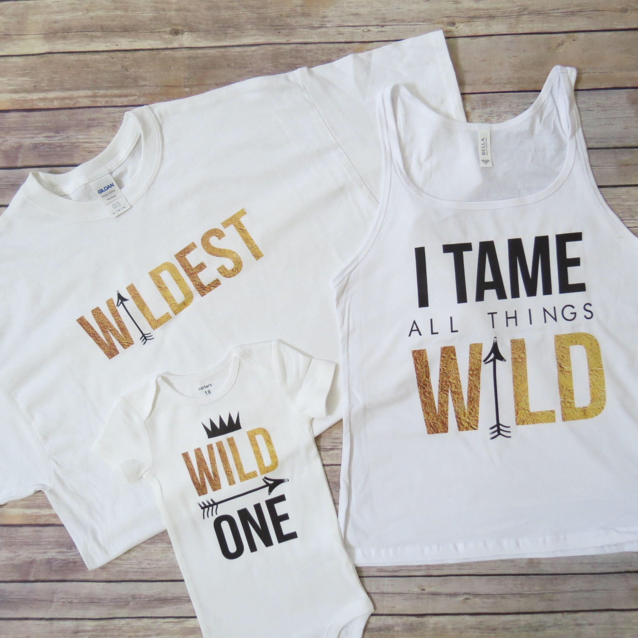 3 Shirt Set Matching WILD theme shirts Wild and e Shirts Mom