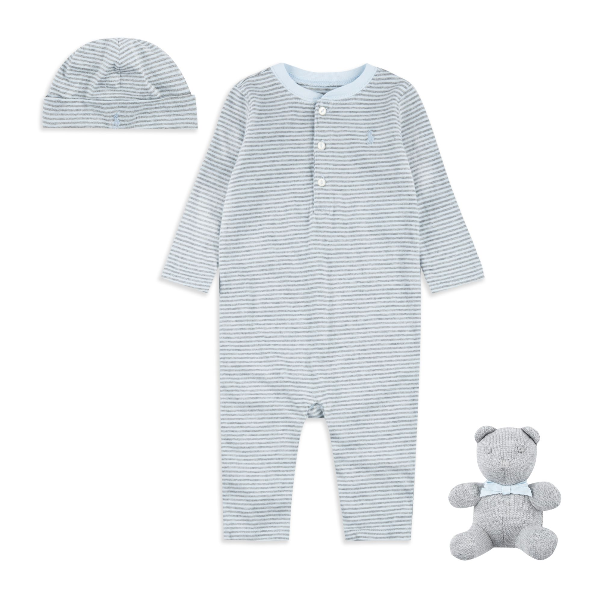 fcdfba6ae480 RALPH LAUREN Baby Boys Babygrow Gift Box Set - Blue Baby boys gift set •  Soft