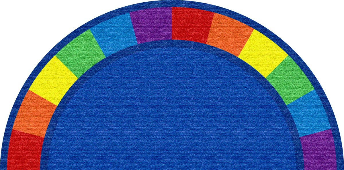Modern Classroom Rug : The colors semicircle rug features a simple clean look