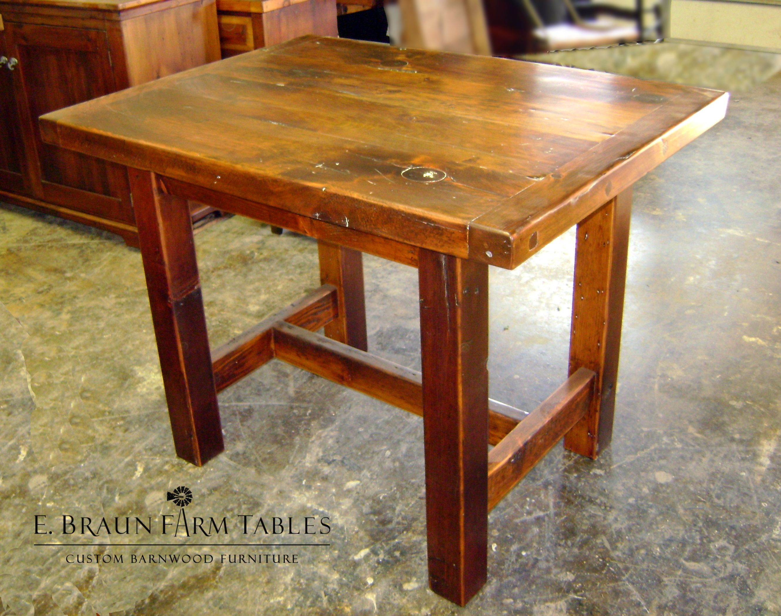 small square trestle table, crafted by E. Braun Farm Tables and ...