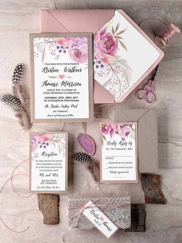 Boho Pink Wedding Invitation With Real Lace Weddingideas