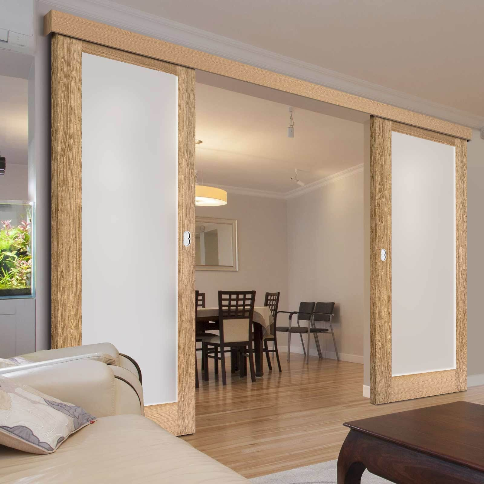 Double Sliding Door Wall Track Pattern 10 Oak Doors Frosted Glass Unfinished Double Sliding Doors Sliding Doors Oak Doors