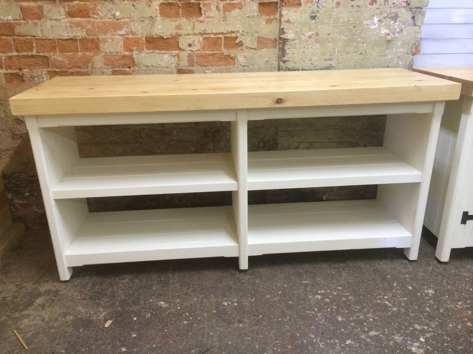 Long Rustic Wooden Solid Pine Freestanding Open Kitchen Centre Island Unit Ebay