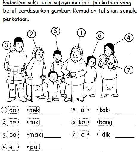 Bahasa Malaysia Prasekolah Latihan Keluarga Saya Preschool Writing Kindergarten Reading Worksheets Kindergarten Addition Worksheets