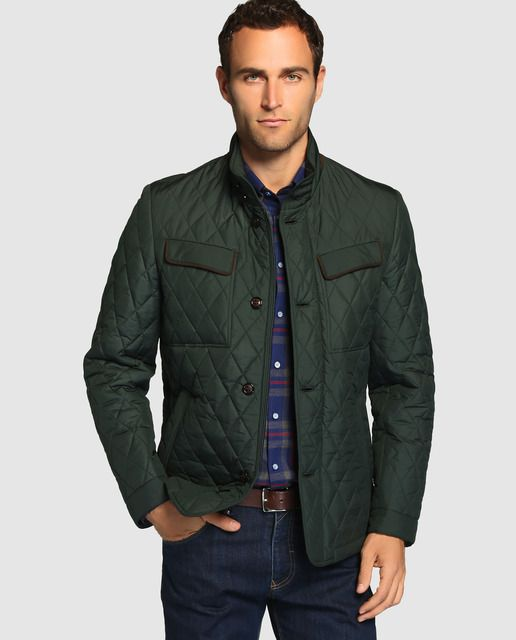 87db10e3231d Chaqueta de abrigo acolchada de rombos tipo husky de color verde ...