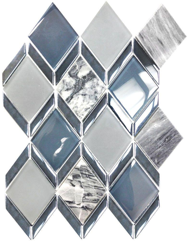 Diamond Blue Grey Glass Carrara Marble Kitchen Bath Mosaic Tiles 11 Carrara Marble Kitchen Kitchen Marble Mosaic Tile Backsplash