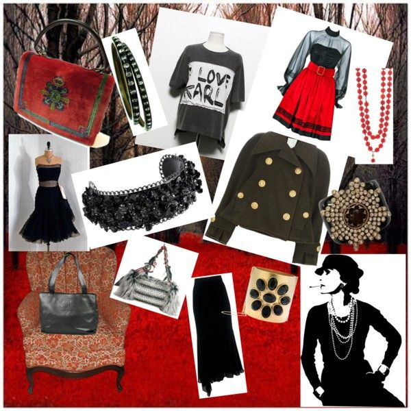 """""""Chanel"""" by nici898 on Polyvore  """"Karl T-shirt $61, Chanel vintage double breasted jacket $5,050, Chanel black & red strapless party dress $1600, Chanel vintage asymmetric skirt $580, Chanel Inuit Tweed Fantasy Fur tote, Chanel Pebble Grain Tote Bag, Chanel Vintage Glass bead Extra Long Necklace, Chanel Black set of Resin & Rhinestone Bangles, Chanel Cruise 2013 braccialetto nero, Chanel Wide Statement Making Cuff, Chanel/Grippoix Cuff ca. 1960, (red) Chanel Earrings......."""