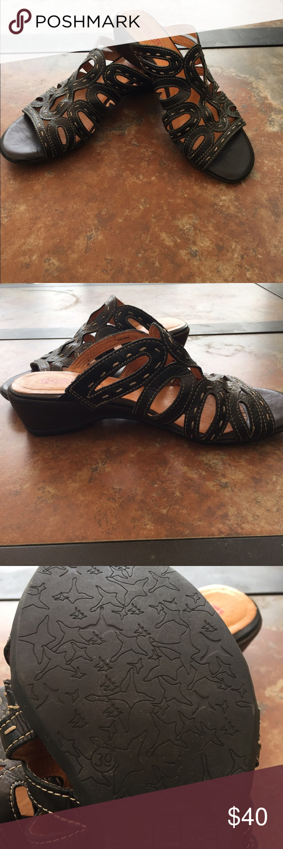 Pikolinos Black Leather Sandal Super cute leather cut out sandal. Great to go with jeans or dresses PIKOLINOS Shoes Sandals