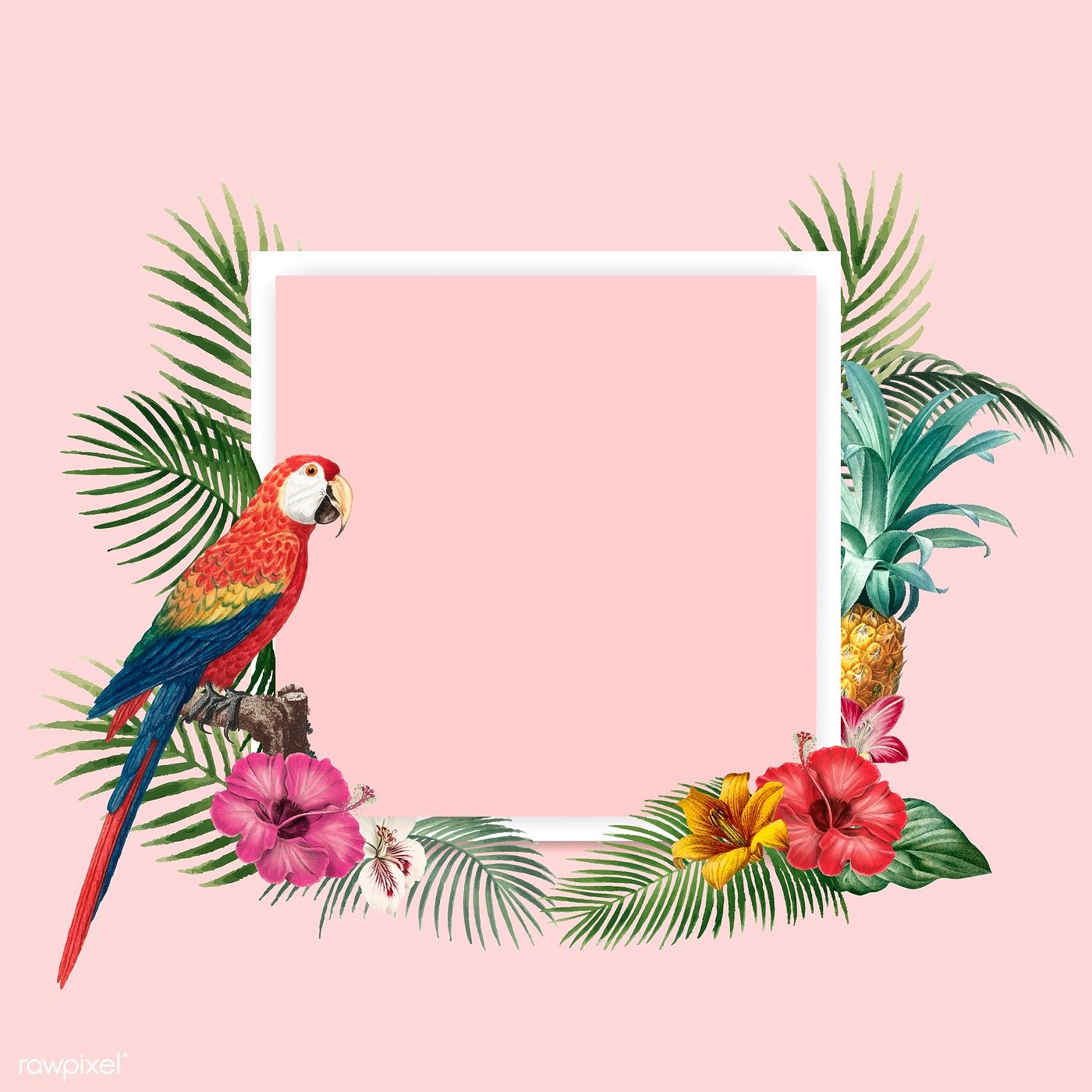 Download premium vector of Tropical round frame on blue