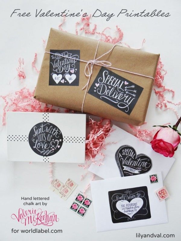 Hand Lettered Chalk Art ValentineS Day Labels Free Printable