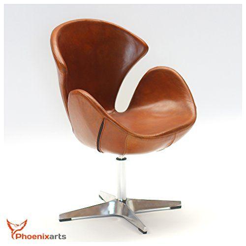 Echtleder Drehsessel Egg Chair Leder Sessel Vintage Ledersessel Design Loft  Clubsessel Möbel NEU 535