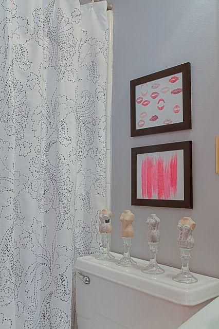 bust art; candlesticks; lipstick art; shower curtain; bathroom; Room Service Atlanta room designed by Jennifer Baggett and Liz Ballard, Atlanta GA