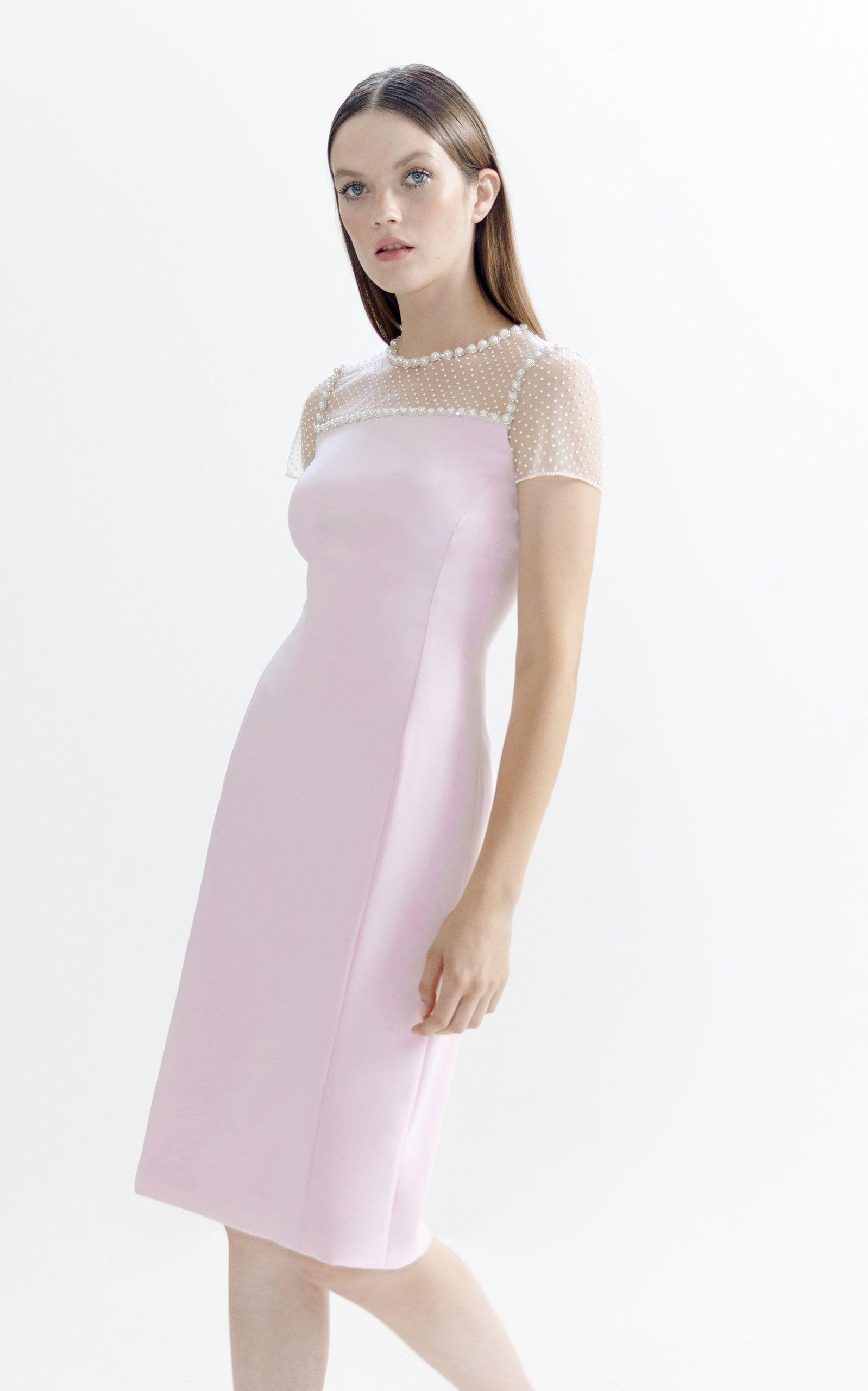Photo of Illusion Neckline Satin Dress by Jenny Packham | Moda Operandi