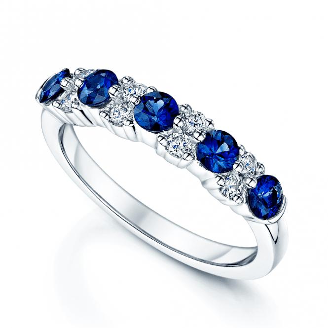 Berry's Platinum Sapphire & Diamond Half Eternity Ring in