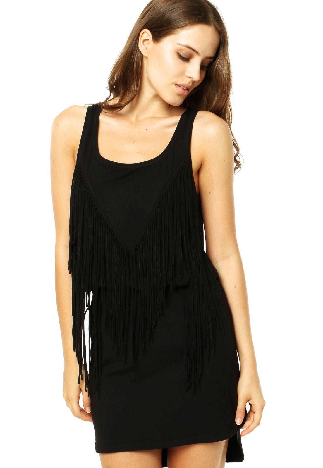 feb850377 Vestido Colcci Comfort Franjas Preto - Compre Agora