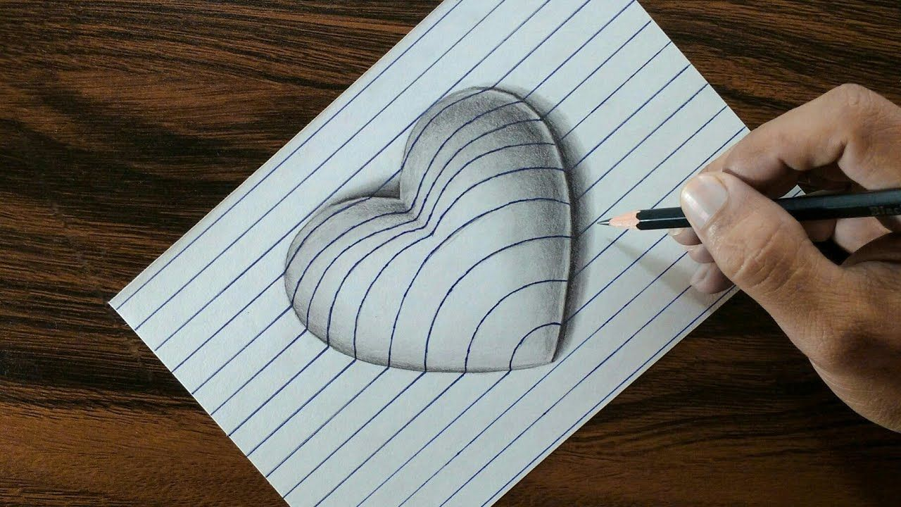3d Heart On Line Paper Trick Art Drawing 3d Drawing Tutorial 3d Drawings Easy 3d Drawing