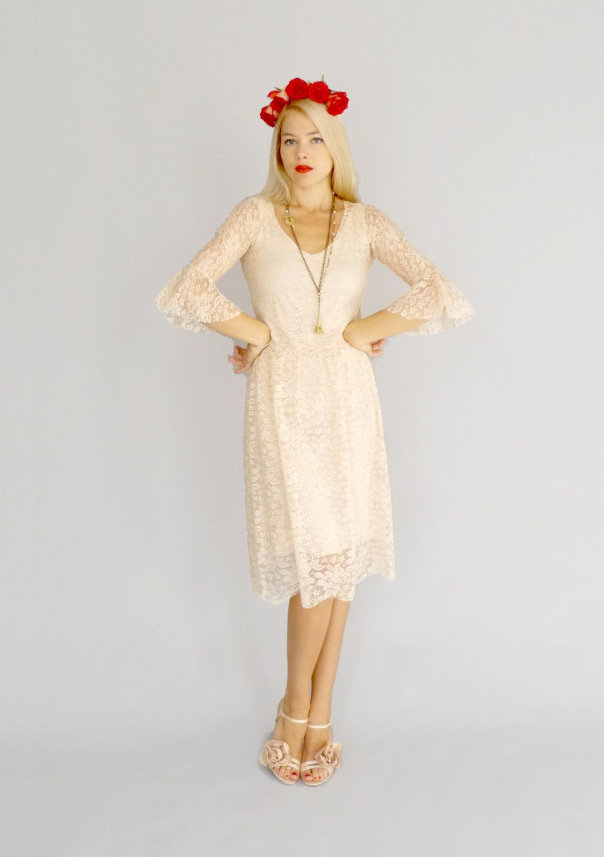 Patti tea length blush pink bohemian wedding gown with by dahlnyc