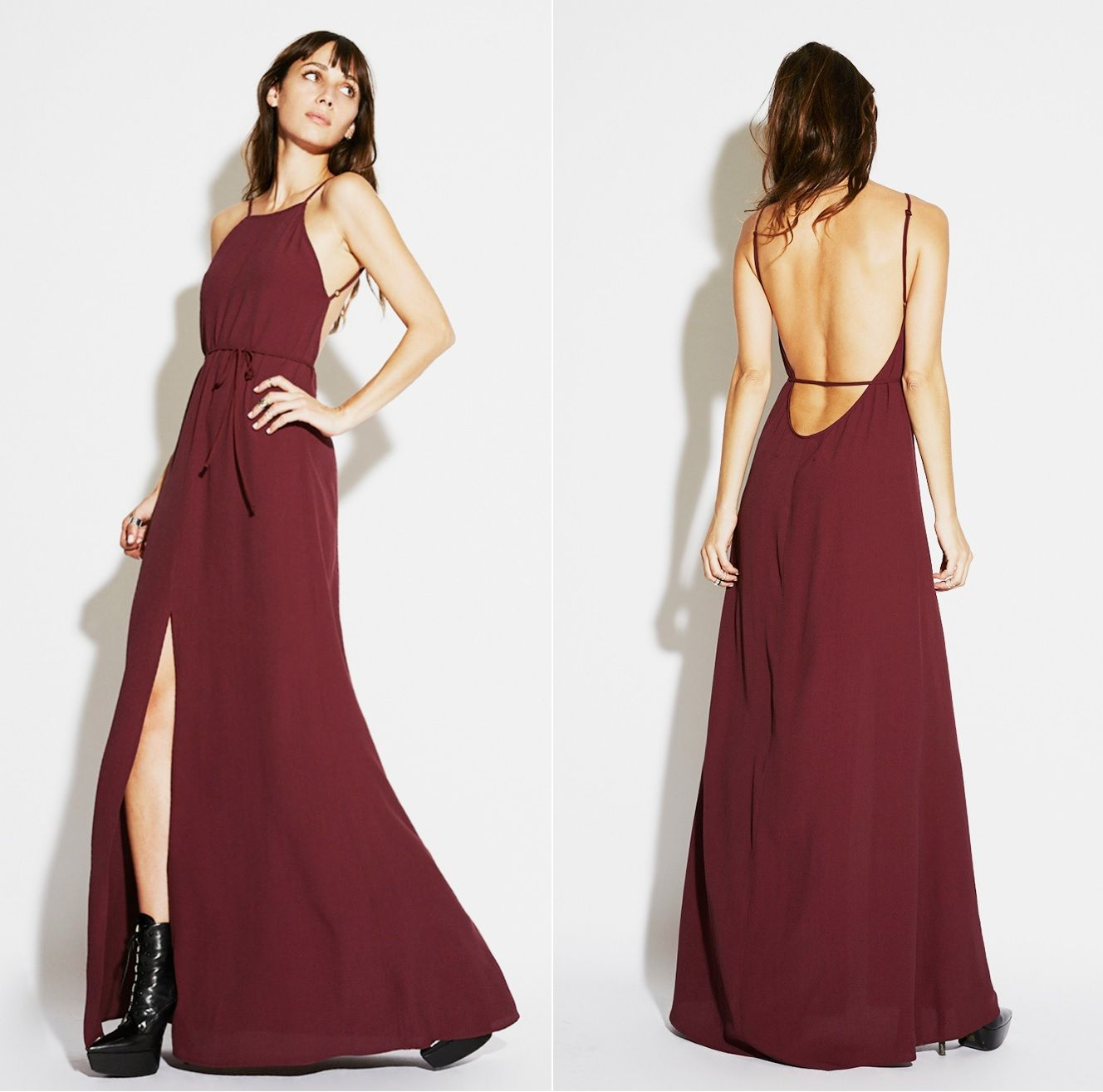 """Reformation Anise Dress in Burgundy: spaghetti-strap maxi dress with a high neck in the front and a really low back, fitted through the waist and then gets full in the skirt. 100% viscose. Length: 57.5"""" $198.00"""