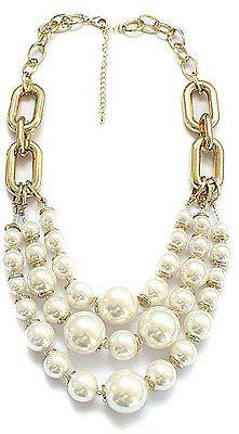 Elegante Blanco Perlas de Imitación macizo Distintivo Collar