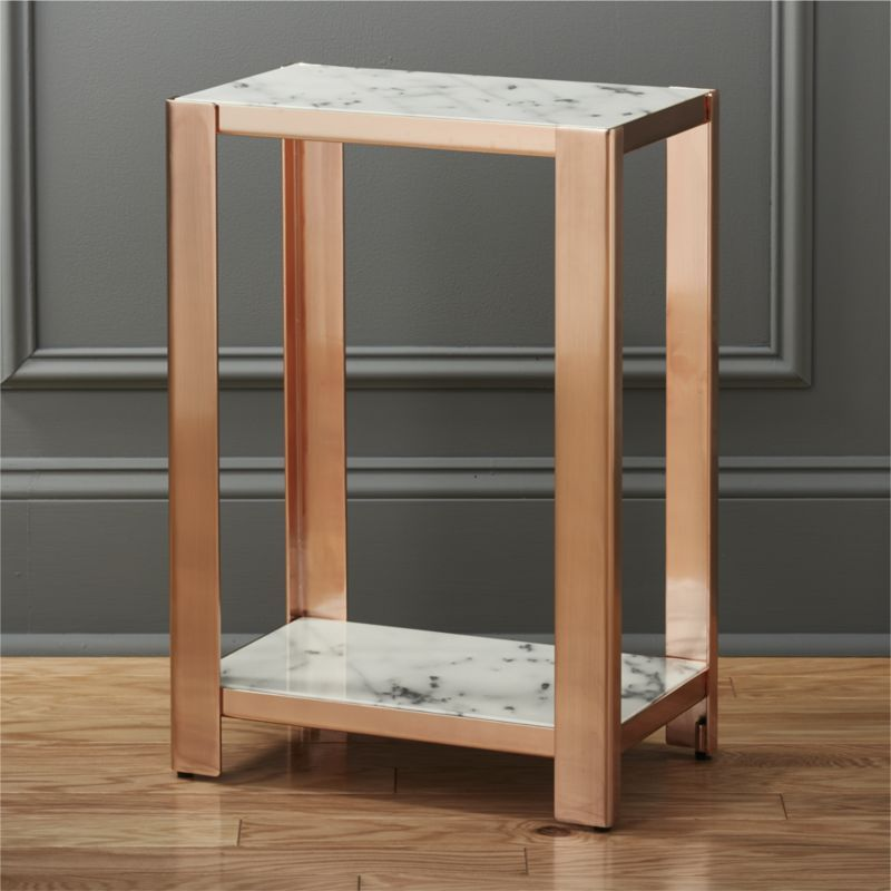 Shop Via Marble Side Table. Open Frame Construction In Gleaming Rose Gold  Rocks A Smooth Carrara Style Marble Top And Lower Shelf For Magazines Or  Remotes.