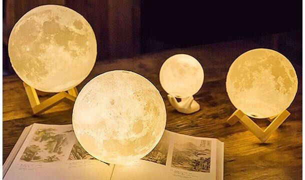 Luna Moon Lamp 3d Printed Moon Lamp Rechargable Lamp Led Light Moon Light Handmade Lamp Space Constel Wooden Stand Home Decor Interior Decorating