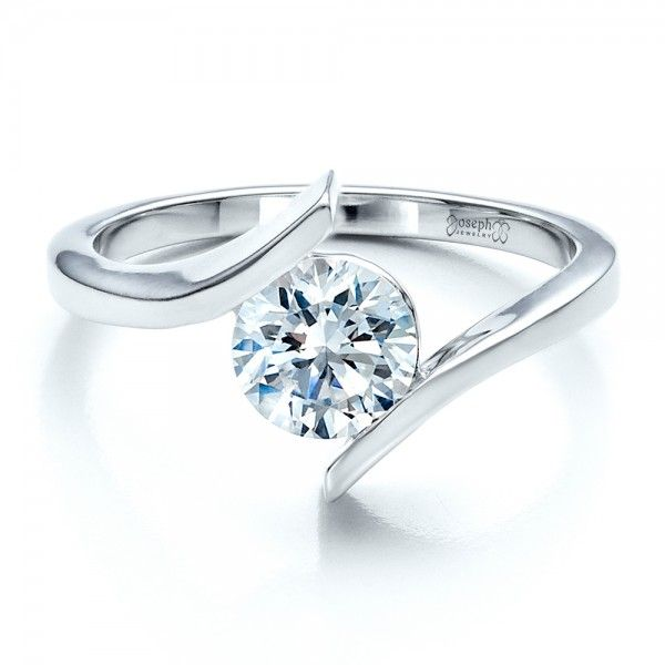 Contemporary Tension Set Solitaire Engagement Ring Solitaire