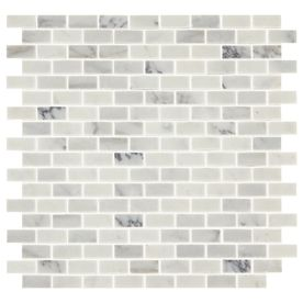 Shop American Olean Genuine Stone Refined White Brick Mosaic Marble Floor And Wall Tile Common