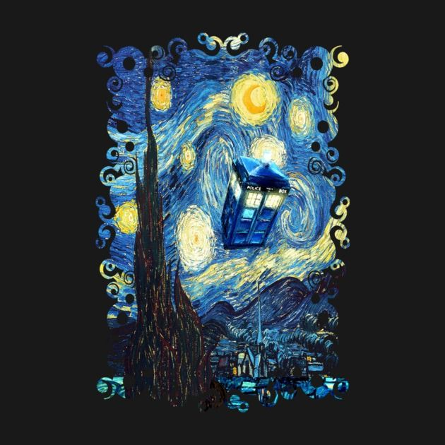 Awesome 'Blue+Phone+booth+starry+the+night' design on TeePublic!