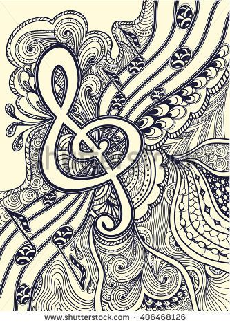Zen Doodle Treble Clef Notes Musical Stanza With Tangle Ornament Style Black On White For Coloring Page Or Relax Book Wallpaper