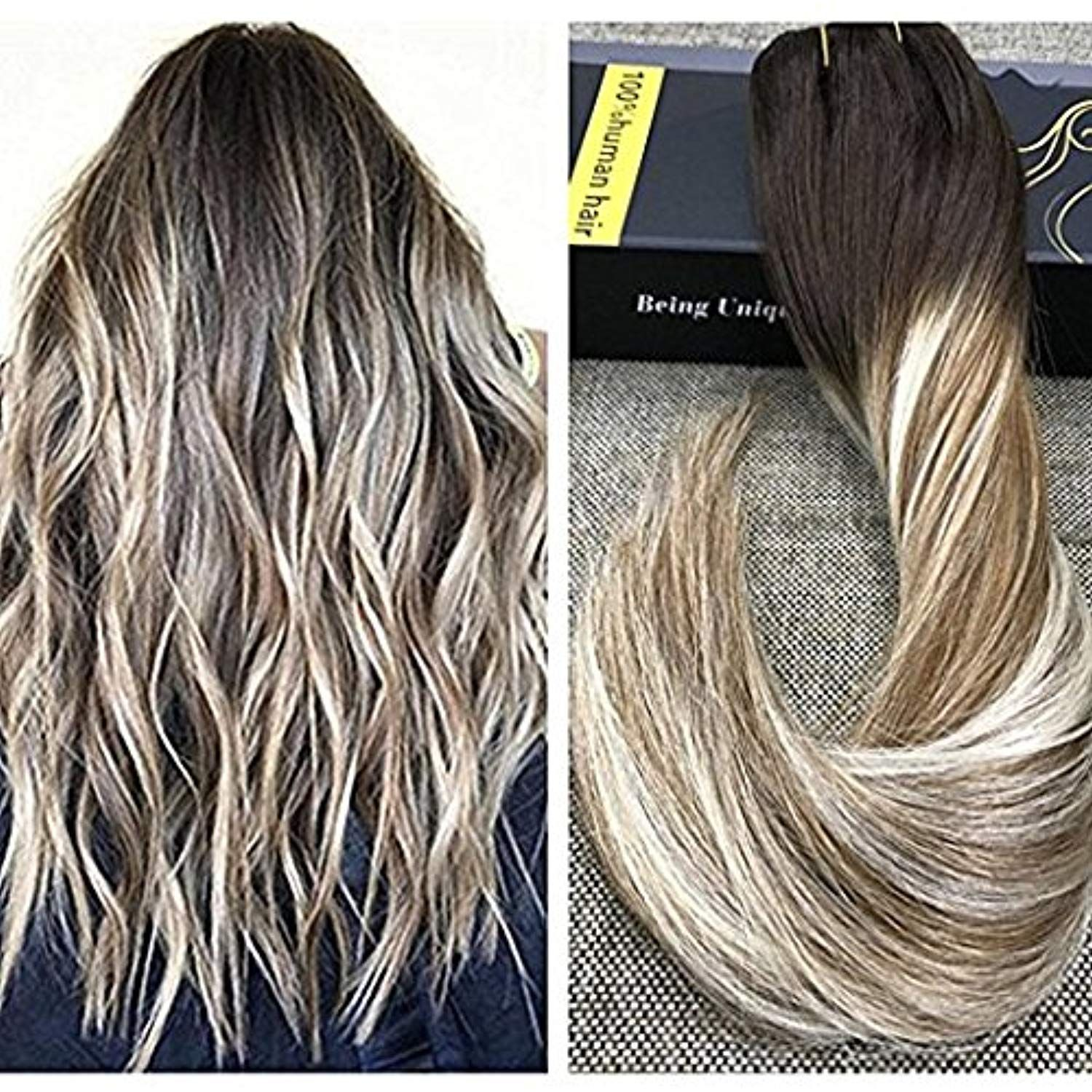 Ugeat 18inch Salon Quality Silky Straight Clip In Human Hair Extensions Balayage Color 2 Fading Human Hair Extensions Brown Ombre Hair Color Brown Ombre Hair