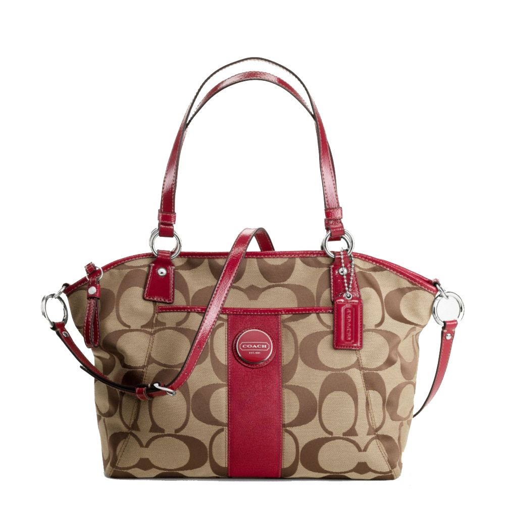 Coach Handbags | Coach Handbag Signature Stripe Pocket Brown Tote ...