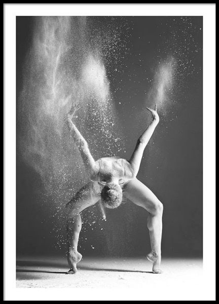 A black and white poster with photo art of a woman dancing and captured in an intense movement a very beautiful and strong design that will look good on