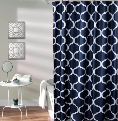Geo Shower Curtain Navy Lush Decor Geometric Shower Curtain
