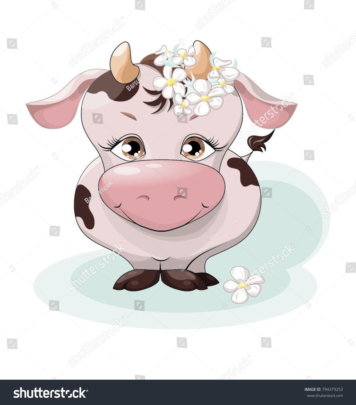 корова, теленок, животное, персонаж, иллюстрация, картинка ...